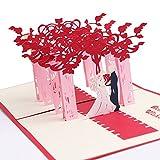 Pop-Up-Karten,Beetest 3D Papier geschnitten Hochzeit Zeremonie gefaltet Pop-up-Begrüßung Danksagungskarte Einladungskarten Valentinstag Geburtstag Geschenke Handwerk Postkarte