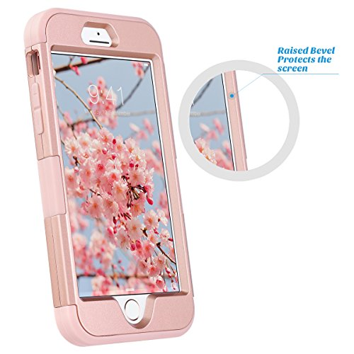 iPhone 7 Hülle, ULAK iPhone 7 hülle Case Abdeckung Luxus 3in1 Cover Hybrid High Impact Weiche Silikon Shockproof Hard PC Case Cover für iPhone 7 4,7 Zoll (Roségold) Roségold