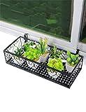 GJFHUAJIA JIANFEI Scaffale Fioriera Europea Ferro davanzale arazzi Flower Pot scaffale per balcone, Ringhiere Hanging Fiore Rack Espositore (Colore : Nero, dimensioni : 50*25cm)