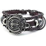 Konov Jewellery Mens Womens Leather Bracelet, Fleur De Lis Charm Bangle, fit 7-9 inch, Brown (with Gift Bag)