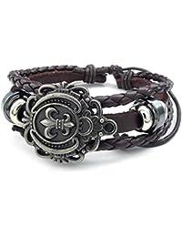 KONOV Schmuck Herren Damen Armband, Fleur de Lis Charm Armreif, Passend für 20-23cm, Leder Echtleder, Braun
