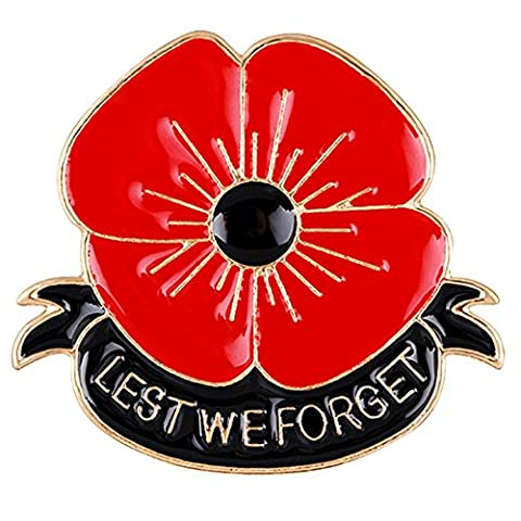 Red Poppy Brooch Flower Enameled Lapel Pin Badges Pin Four Petals Forever Lest We Forget Remembrance Day Rhinestone Badges