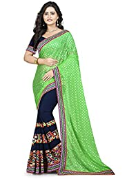Riva Enterprise Women's Lycra Pallu Embroidred Parrot Green And Navy Blue Color Women Saree (RIVA140_)
