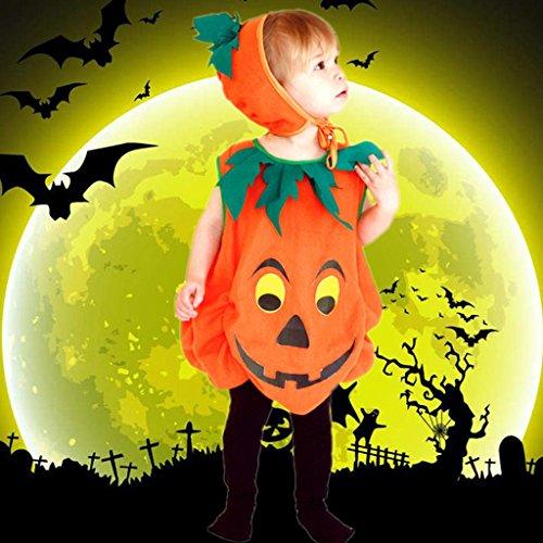 Halloween Kinder Kleidung Kürbis Anzug und Hut Make-up Tanz Performance Kostüme