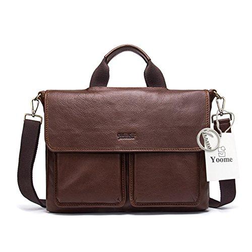 Yoome Men's Vintage en cuir véritable sac à bandoulière Messenger sac à bandoulière sac d'université, Fit 17\\