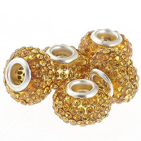 Rubyca gros trous 15mm cristal Charm perle pour bracelet charms européens, Amber Gold, 100 PCS