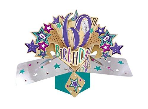 Happy 60th Birthday Pop-Up Grußkarte Original Second Nature 3D Pop up Karten