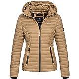 Marikoo SAMTPFOTE Damen Stepp Jacke Daunen Look Gesteppt Übergang XS-XXL 11-Farben, Größe:L;Farbe:Camel