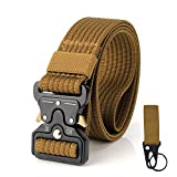 S. Lux Tactical Belt, Cinturino Regolabile Cintura in Nylon Utility Heavy Duty Web Molle Coulisse Cintura con Fibbia in Metallo, Coyote Brown
