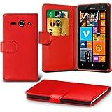 (Red) Nokia Lumia 625 Schutzfolie Faux Credit / Debit Card Leder Book Style Tasche Skin Case Hülle Cover, Aus- und einfahrbarem Touchscreen Stylus Pen & LCD-Screen Protector Guard von Spyrox