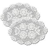 gracebuy Manteles Individuales ovalados 100% Hechos a Mano de Crochet con Encaje, 28 x