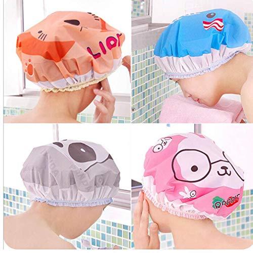 Nette Karikatur Dusche Badkappe Frauen Hut für Bäder und Saunen Spitze Gummiband Kappe Spa Kappe Frauen Kinder Haar Schutzkappe