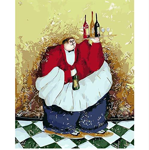 XIGZI Dicker Mann Mit Rotwein Kellner Die Gemälde Zahlen Hand Malen Malerei Färbung Nach Anzahl Zeichnung Bilder Home Wand Dekoration 40x50 cm