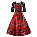 QingJiu Frauen Vintage HalfSleeveg Plaid Spitze Patchwork Abend Party Prom Swing Dress