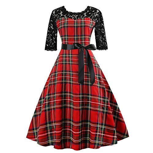 TEBAISE Sommer Kariert Elegant 1950er Rundhalsausschnitt Kurzarm Spitzenkleid Freizeitkleid Cocktailkleider Party Ballkleid Hochzeit Festlich Knielang Retro Rockabilly Faltenrock Abendkleid Karneval