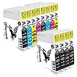 Fituwork 12PK (2Sets + 4B) Cartouches d'encre compatibles adaptées pour Epson 18XL T1811 T1812 T1813 T1814 T1816 Utilisation dans Epson Expression Accueil XP30 XP102 XP202 XP205 XP212 XP215 XP-225 XP302 XP305 XP312 XP315 XP-322 XP-325 XP402 XP405 XP405WH XP415 XP412 XP422 XP425 12Packs- (6B2C2Y2M)