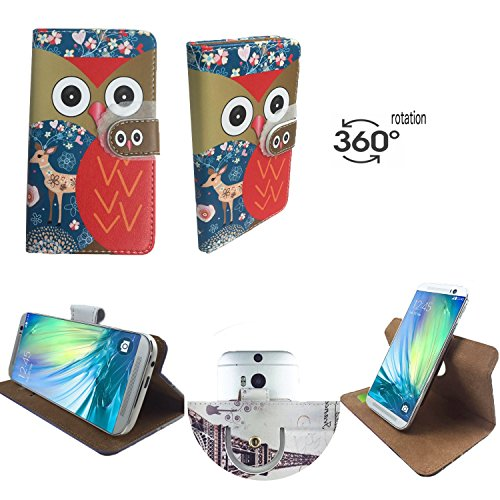 Handy Schutz Hülle | für FANTEC Boogy | 360° Drehbare Funcktion | PU Leder | - 360° Nano L Reh Eule