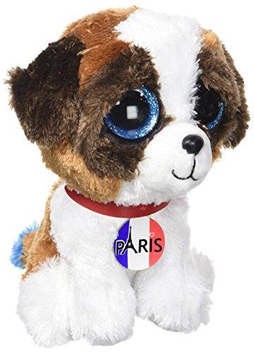 Ty-TY36844 - Beanie Boo's -Plüschtier - Duke Dog I Love Paris- Größe 15cm -