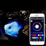 LCNSW 4er RGB LED KFZ Innenraumbeleuchtung Fussraumbeleuchtung komplett mit Anschlußkabel, Controller und Fernbedienung 4 Streifen Strips Auto 12V 4 in1 Innendekoration Licht DC 12V Auto Innenbeleuchtung Mit Fernbedienung Dekoration