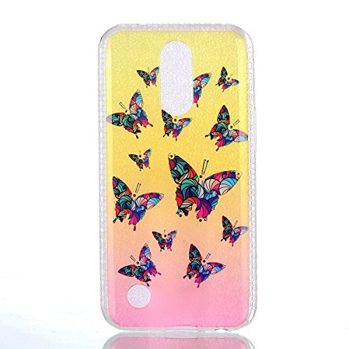 Coque LG K8 2017 Glitter, LG K8 2017 Coque Brillante, SainCat Ultra Slim TPU Silicone Case pour LG K8 2017, Glitter Bling Diamante Strass Anti-Scratch Soft Gel 3D Housse Transparent Silicone Case Anti Papillon Coloré