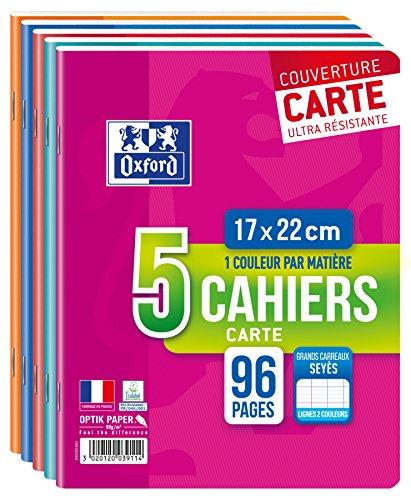 Oxford Scolaire Lot de 5 Cahiers Agrafes 17x22 96 Pages 90g Seyes Assortis