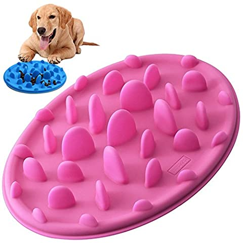 Gamelles Anti Glouton, PETBABA Interactif Antidérapant Silicone Bol de Nourriture pour Chiens Chats Rose