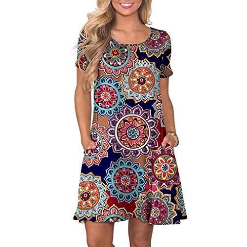 LOPILY Damen Strandkleid Casual Böhmischen Strand Blumendruck Hemdkleid Blusenkleid mit Taschen Vintage Retro Blüte Drucken Lose Tunika Blusenkleider Sommerkleider(X6-Marine,EU-44/CN-2XL)