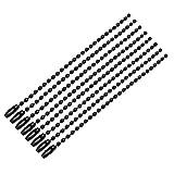 sourcing map 8pcs Cordón de Broche de Metal Negro Conector Bola Llavero Cadena de 2,4mm de Diámetro 10cm de Longitud