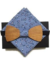 [Garantie à vie] Noeud Papillon en bois fait main tissu Hanami bleu + carré pochette