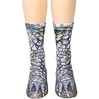Toamen Novelty Socks, Women Man Unisex Lifelike Animal Paw Sublimated Print Crew Socks, Polyester Rich, Comfortable, Breathable, High Performance Thermal Socks