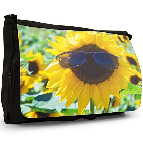 Fancy A Bag Borsa Messenger nero Sunflowers Fields Groovy Cool Sunflower Wearing Sunglasses