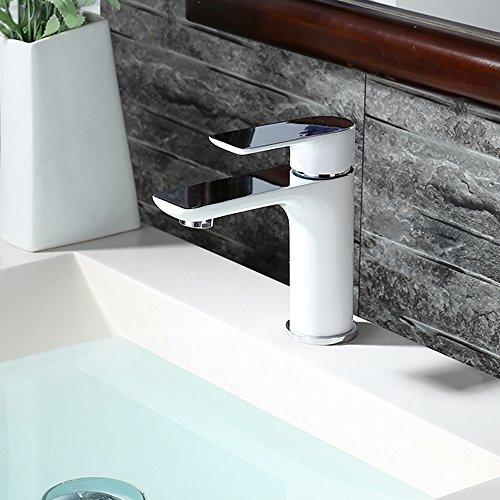 Homelody – Waschtisch-Einhebelmischer, ohne Ablaufgarnitur, Luftsprudler, Keramikkartusche, Weiß-Chrom - 6
