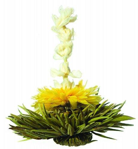 Preisvergleich Produktbild AKTION: 4er-Set Teeblumen / Teerosen,  hochwertigster Weißtee mit Calendula- und Jasminblüten im schönen Organzasäckchen