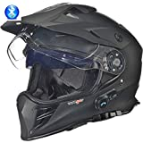 RX-968 COM Bluetooth Crosshelm Integralhelm Quad Cross Enduro Motocross Offroad Helm rueger, Größe:L (59-60), Farbe:Matt Schwarz