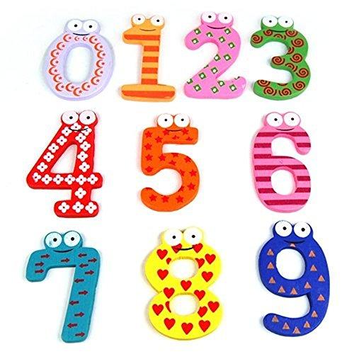 Romote 10Pcs/set Bunte magnetische Zahlen aus Holz Kühlschrank Aufkleber-Kind-Kinder Lernspielzeug