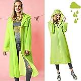 Womdee Rain Ponchos for Adults, Waterproof Long Rain Coat, Reusable EVA Rain Jacket