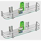 SBD Multi Purpose Glass Corner Shelf (18x5.5-Inches) - Pack of 2