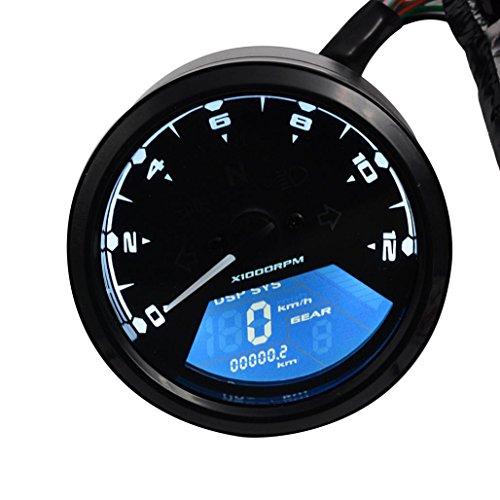 Motorrad Geschwindigkeitsmesser - Kingwo LCD Digital Tachometer Geschwindigkeitsmesser Tachometer Kilometerzähler Motorrad Motorrad 12000RPM