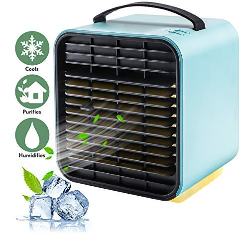 Klimaanlage Fan, persönlichen Raum Luftkühler Desktop Fan Mini Umwälzpumpe Luftreiniger Kühler mit tragbarem Griff und Nachtlicht für Home Room Office im Freien (Blau)