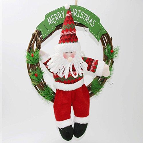 Wand-hurrikan-kerze (Weihnachten rattan ring Weihnachtsgeschenk Tür Dekoration Anhänger Weihnachten Kreis Puppe Fenster Dekoration ( Color : Santa Claus ))