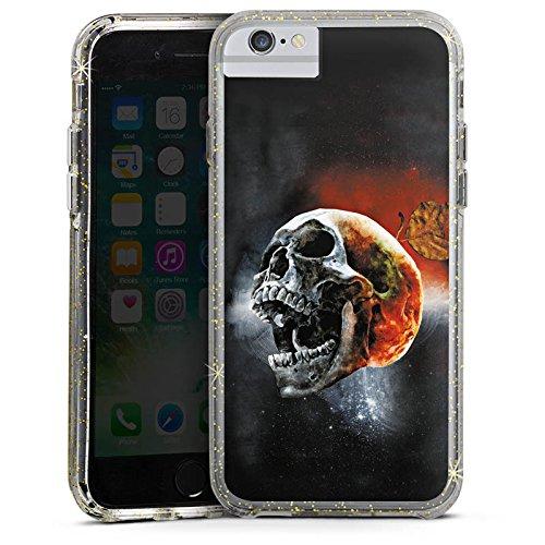 Apple iPhone 8 Bumper Hülle Bumper Case Glitzer Hülle Skull Kopf Scream Bumper Case Glitzer gold