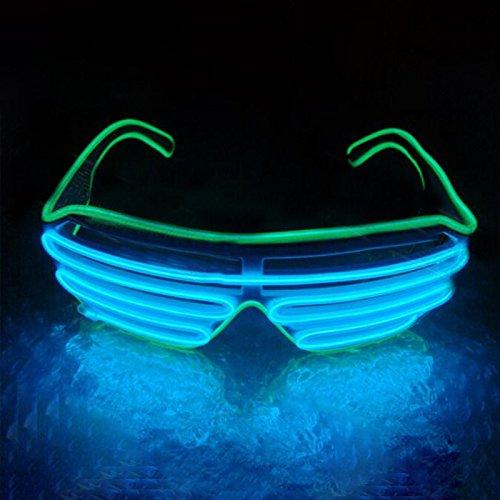 Hongfei Gladle EL Draht Rave Sonnenbrille LED leuchten Party Brille Eis-blauer Spiegel des grünen Rahmens Grün Spiegel