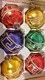 Decoratie Christbaumkugeln Nostalgie 30-40 Jahre alt Glas 6 Stück Mehrfarbig 7 cm