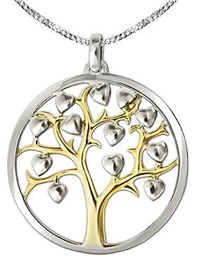 CLEVER SCHMUCK-SET Silberner Anhänger teilvergoldet großer Lebensbaum Ø 29 mm mit Rand glatt und vielen kleinen...