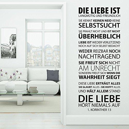 KLEBEHELD® Wandtattoo Die Liebe ist... Hohelied der Korinther   Größe 56x140cm, Farbe braun Korinther Wandtattoo