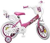 Kinderfahrrad Minnie Mouse 12 Zoll 14 Zoll rosa weiß Mädchen Fahrrad Puppensitz (14 Zoll)