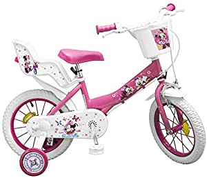 kinderfahrrad minnie mouse 12 zoll 14 zoll rosa wei m dchen fahrrad puppensitz. Black Bedroom Furniture Sets. Home Design Ideas