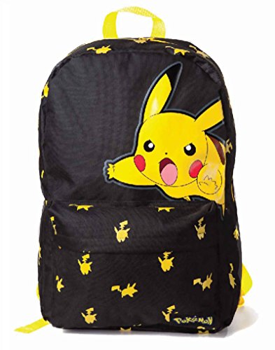Pokemon-mochila-grande-diseo-de-Pikachu-Classic-Logo-oficial-negro-y-amarillo-Talla-nica