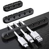 SOULWIT® kabelhållare klämmor, 3-pack kabelhanteringssladd organiseringsklämmor silikon självhäftande för USB-laddningskabel nätsladd muskabel tråd PC kontor hem