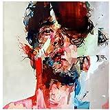 TTKX@@ Messer Malerei Porträt Zwei Mann Gesicht ÖlgemäldeFigur auf Leinwand Art Big Wall Bilder, 100X120Cm